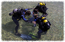 students and scuba instructor